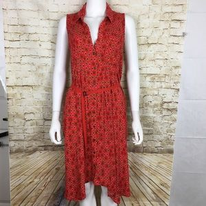 Maeve Anthropologie Women's Dress 12 Red Floral